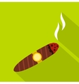 Brown cigar icon flat style vector image vector image