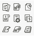 business report icon set isolated vector image vector image