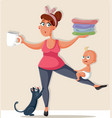 busy mom feeling overwhelmed with household chores vector image vector image