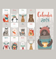 calendar 2018 cute monthly with forest vector image vector image