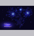 celebration blue fireworks greeting card copy vector image vector image