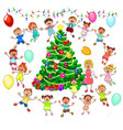 children rejoice at the christmas tree vector image