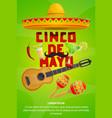 cinco de mayo mexican party greeting banner design vector image
