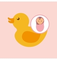 cute newborn girl on pink blanket and rubber duck vector image
