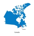 Detailed map of Canada and capital city Ottawa vector image