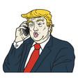 donald trump on phone cartoon caricature portrait vector image vector image