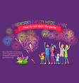 fireworks safety infographic people look at sky vector image vector image