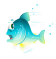fish cartoon escapes from danger vector image vector image