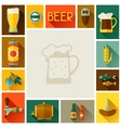 Frame with beer icons and objects in flat style vector image vector image