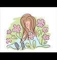 girl in garden beautiful hand drawn happy young vector image