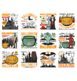halloween pumpkin ghost witch and vampire icons vector image vector image