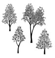 hand drawn black gray trees vector image