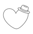 heart and hat black and white vector image vector image