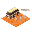 mars rover isometric background vector image vector image