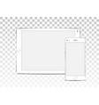mock up set blank screens white tablet vector image