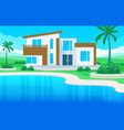 modern house villa exterior with swimming pool vector image vector image