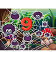 Number nine with nine spiders on web vector image vector image