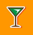 paper sticker on stylish background martini glass vector image
