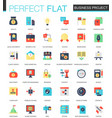 set flat business project icons vector image
