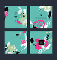 set of abstract creative handmade greeting cards vector image vector image