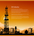 silhouette drilling rigs and text vector image vector image