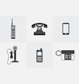 silhouette telephone icons vector image vector image