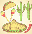 Sketch mexican set in vintage style vector image vector image