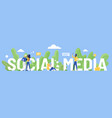 social media word cartoon vector image vector image