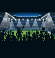 sport fans at stadium people black silhouettes vector image