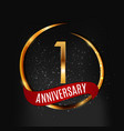 template gold logo 1 years anniversary with red vector image vector image