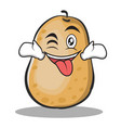tongue out with wink potato character cartoon vector image vector image