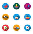 Toys set icons in flat style Big collection of vector image