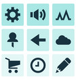 user icons set with activity edit back and other vector image vector image