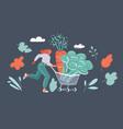 vegetables in basket woman run vector image
