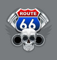vintage skull and route 66 logo vector image vector image