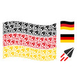 waving germany flag pattern of space ship items vector image vector image