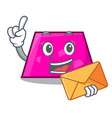 with envelope trapezoid character cartoon style vector image vector image