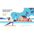 woman doing yoga exercises over beach villa house vector image