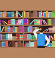 young man chooses a book in the library vector image