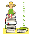 funny girl sitting on the books vector image