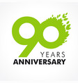 90 anniversary leaves logo vector image vector image