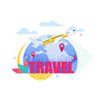 banner travel by plane around earth vector image