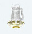 beer logo template hand drawn beer mug vector image vector image