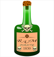 bottle of pirate rum vector image vector image