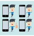Business man show blank smartphone screen for BYOD vector image