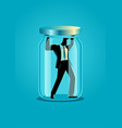 businessman trapped in a jar vector image
