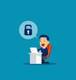 businessman unlock concept business technology vector image