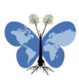 butterflies wordl and trees vector image