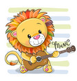 cartoon lion is playing guitar vector image vector image