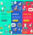 cartoon veterinary and grooming banner vecrtical vector image vector image